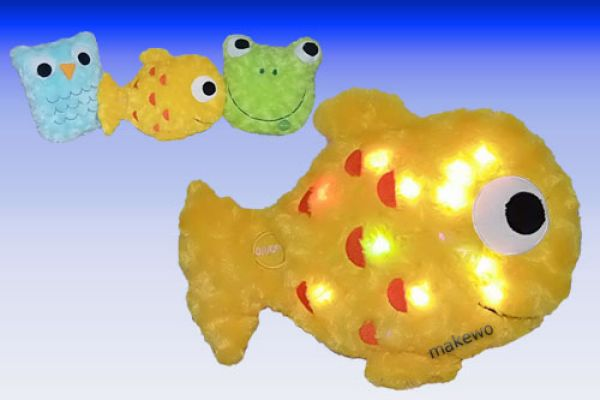 Peluches LED Pillow Pets, hibou grenouille, poisso