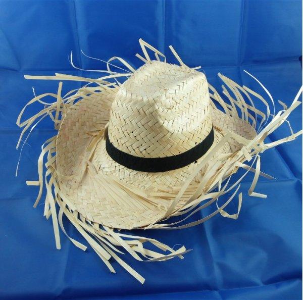 Strohhut - HAWAII mit Fransen, Cowboyhut