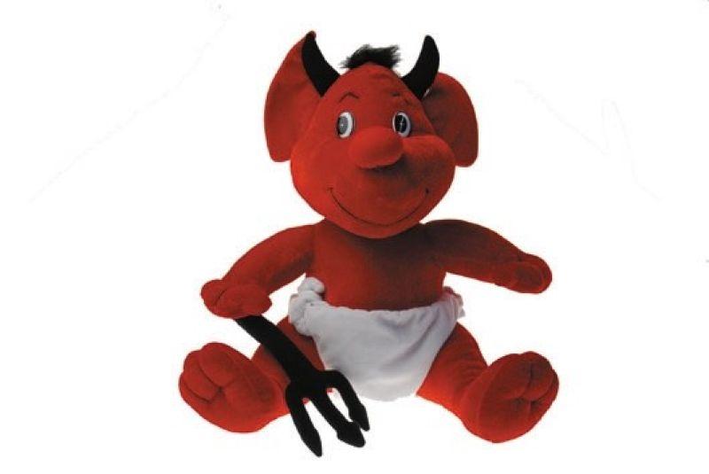 grand diable en peluche avec 50cm trident et couch