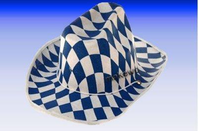 Bayern-Cowboyhut -<br> blau/weiss -<br>Oktoberfest