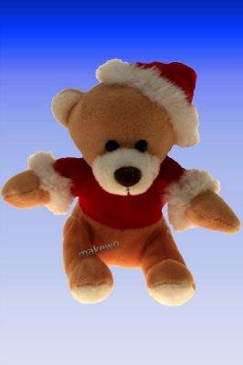 Peluche - Ours avec chapeau de Père Noël et T-shir