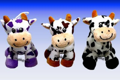 Plush - COW, 3<br> assorted, funny<br>plush cows