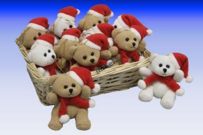 Plüsch-Weihnachtsbär im Körbchen Weihnachten