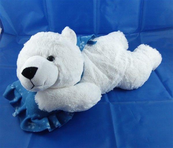 liegender Eisbär mit Kissen und Schal, 48 cm