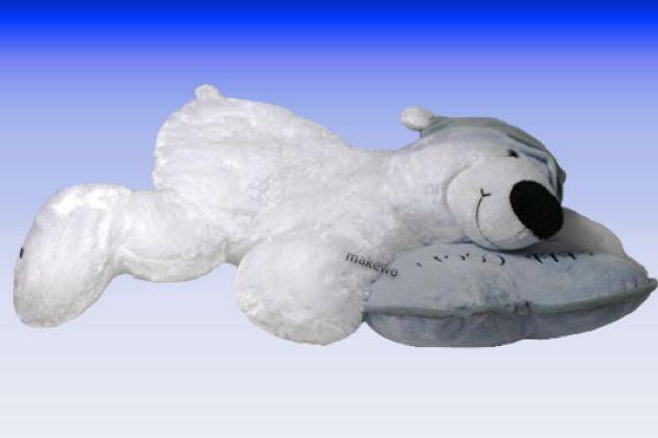 Eisbär mit Mütze und Kissen
