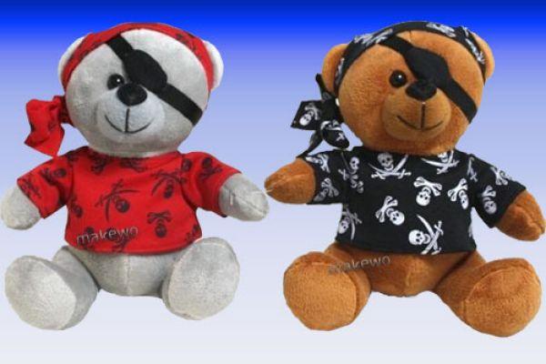 Piraten - Bär mit<br>Shirt und Kopftuch
