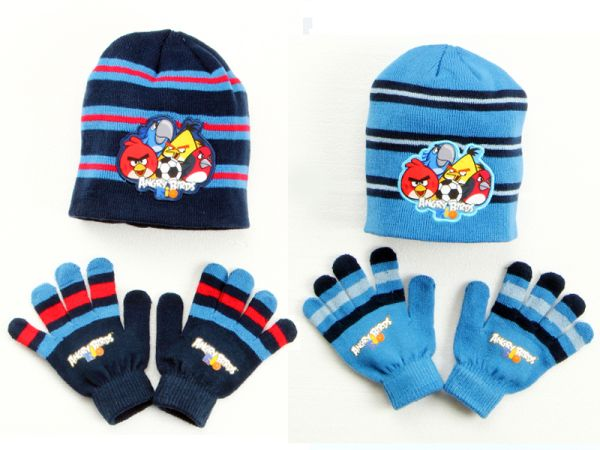 Children&#39;s<br> hats &amp; gloves<br>Set Angry Birds