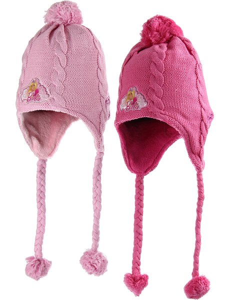 Winter children<br> knitted hat lined<br>with Barbie