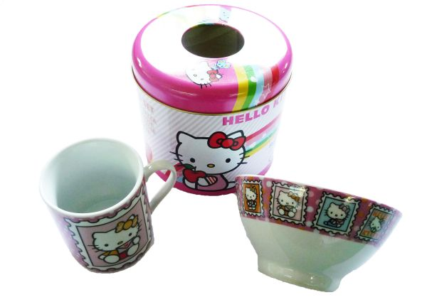 Hello Kitty<br> Zuckerdose +<br> Becher + műzlistál ...
