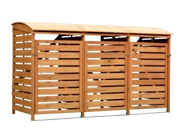3er Mülltonnenbox Holz