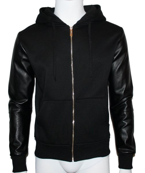 HOODED JACKET MAN<br> LEATHER SLEEVE<br>IMITATION. 1637