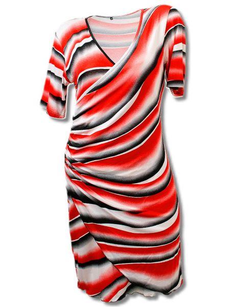 Kleid in Wickeloptik bis Gr. XXXL -rot--