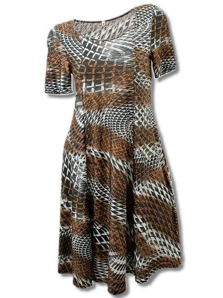 elegantes Sommerkleid bis Gr. XXXL -braun/grau-