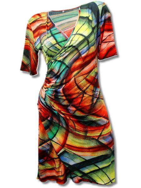 Kleid in Wickeloptik bis Gr. XXXL -bunt-