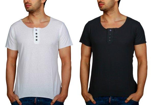 Young & Rich<br> T-Shirt Owen<br>Schwarz, Creme