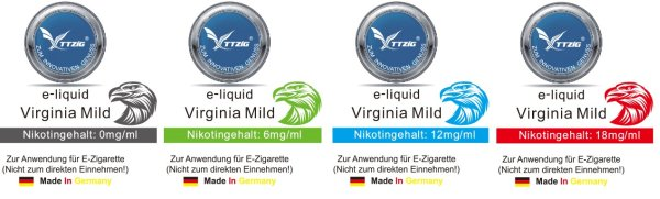 E-Liquids:<br> Virgiania Mild<br>10ml, 0mg