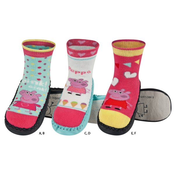 Children slippers<br> MUMPS PEPPA with<br>leather soles