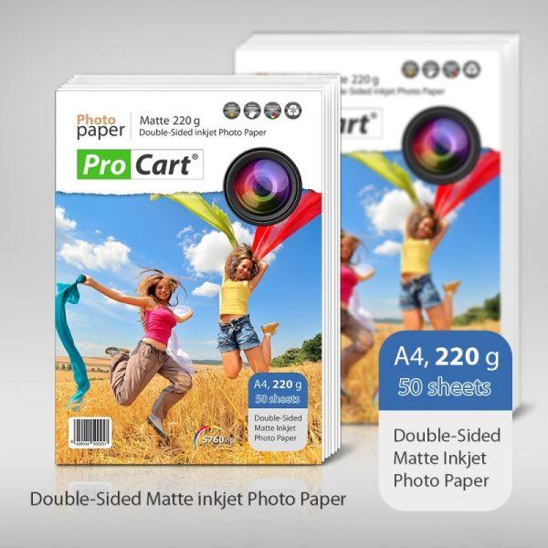 Matte Photo Paper<br> A4 Dual Side 220 g<br>50 pcs