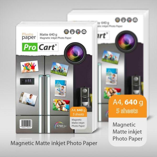Magnetic Matte<br> 640g A4 Photo<br>Paper 5 pcs