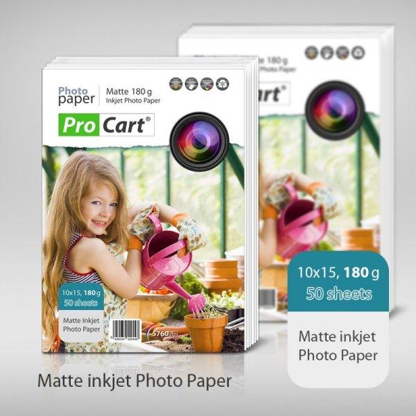 Matte Photo Paper<br> 10x15 , 180 g, 50<br>pcs