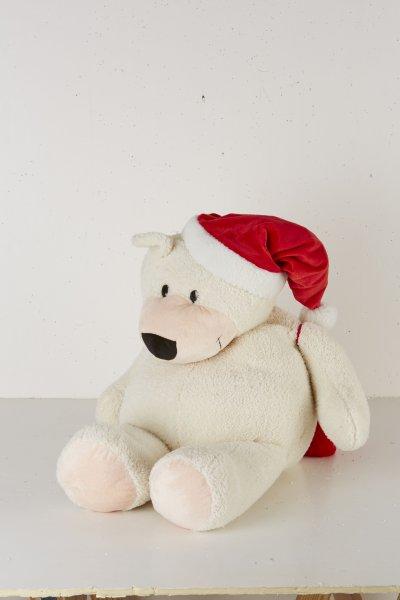 75 cm Teddybär<br> Mütze + Rucksack<br>Weihnachtsmann Bär