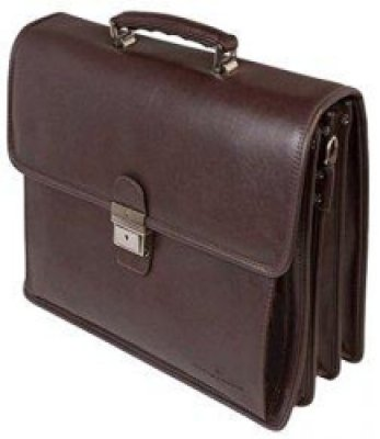 Red brown leather briefcase