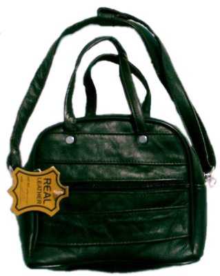 Black lambskin<br>leather ladies bag