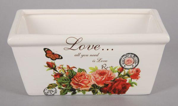 Jardiniere - Rose<br> ceramic, size<br>9x20x11 cm