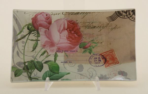 Glass plate /<br> rose, size 20.5 x<br>12.5 cm