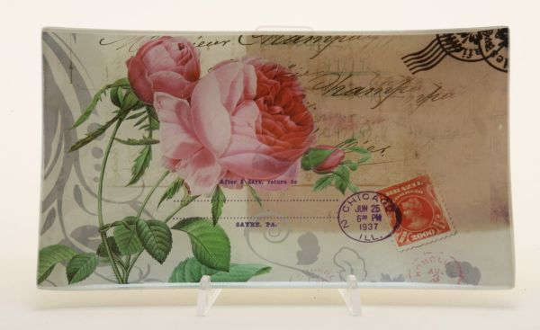 Glass plate /<br> rose, size 26 x<br>14.5 cm