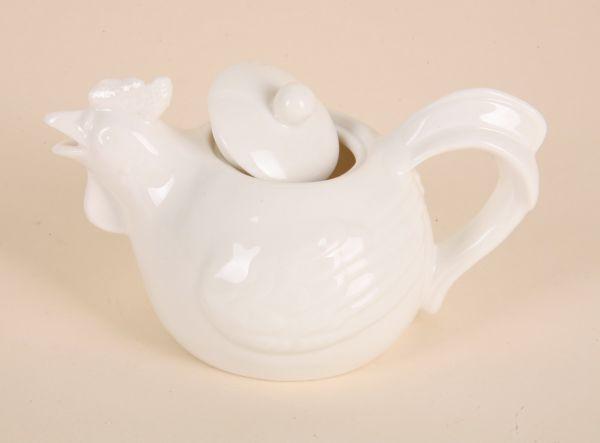 Teekanne - Hahn<br> aus Porzellan.,<br>Größe  = 15x8 cm