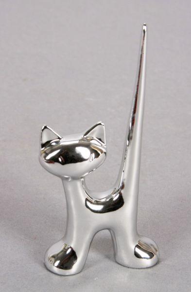 Kot - posiadacz<br> pierścień wykonany<br>z porcelany, ro