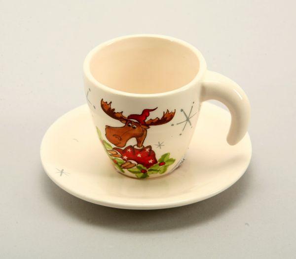 Tasse mit Teller<br> aus Porzellan., 6<br>/ 11 cm