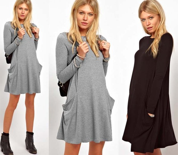 CASUAL DRESS TUNIC<br> TRAPEZ OVERSIZE<br>POCKETS