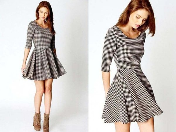 dress flared pepitka