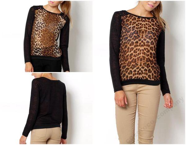 elegant leopard<br>blouse mist