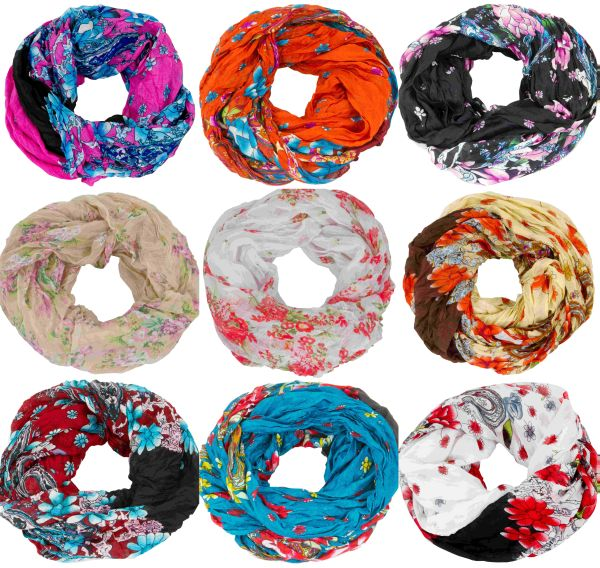 AvaMia Loop Scarf<br> Tube Scarf with<br>Flowers