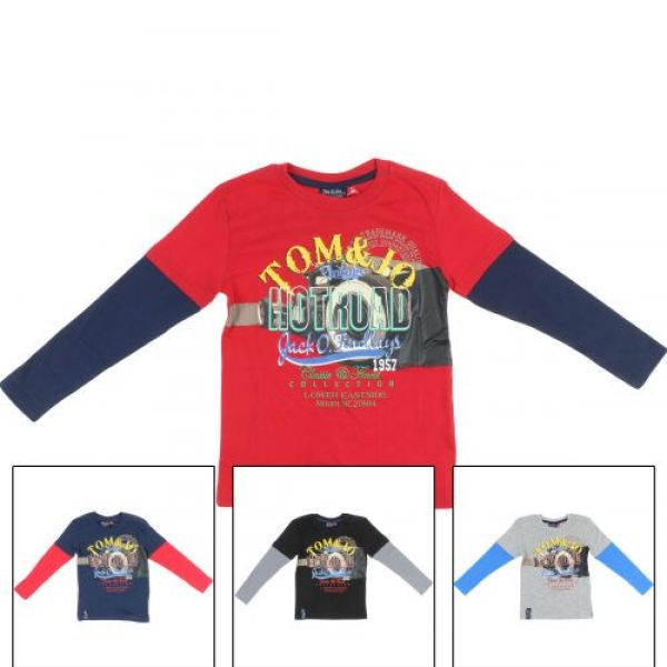 Tom Jo T-shirt<br>with long sleeves