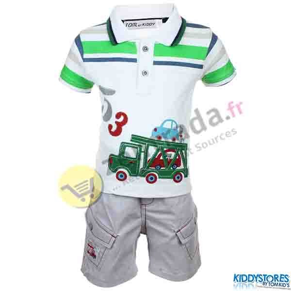 With a baby boy<br>polo shorts.