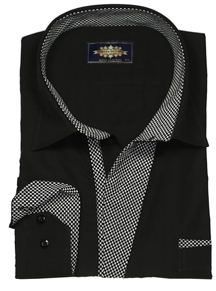 Binder de Luxe<br> Mens Shirt Black<br>Contrast