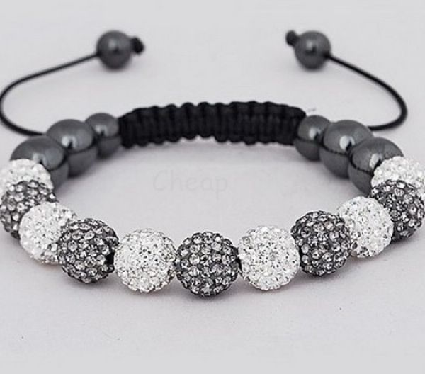 Shamballa bracelet<br> duo 11 spherical<br>(white, gray)