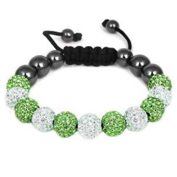 Shamballa bracelet<br> duo 11 spherical<br>(white, green)