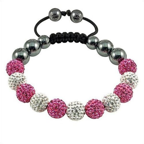 Shamballa bracelet<br> duo 11 spherical<br>(white, pink)