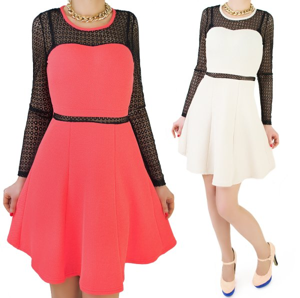DRESS FASHION,<br>NECKLINE HEART, LACE