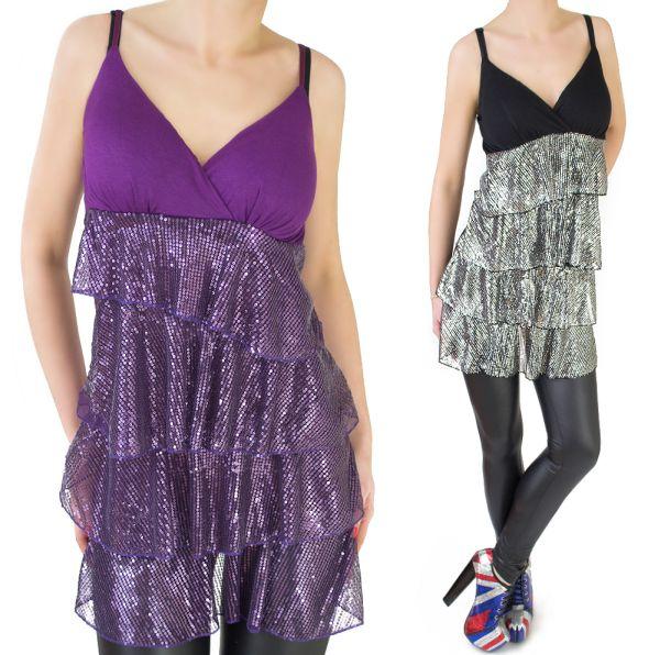 TUNIC, DRESS, V<br> NECKLINE, sequined<br>CASCADE