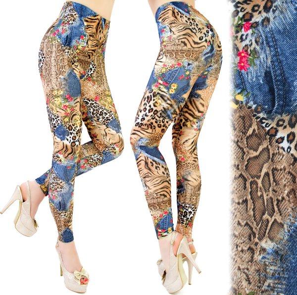 PATTERNED Leggins,<br> Jeans, PANTERA,<br>TIGER
