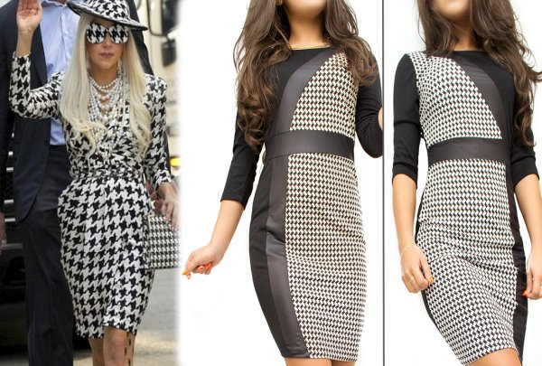 Stijlvolle jurk,<br> Dogtooth Check, PU<br>leer, MIX