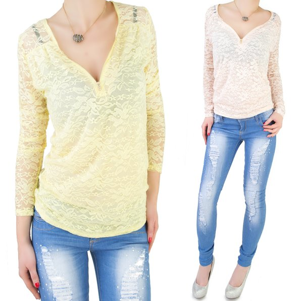 BLOUSE, TOP, LACE,<br>NECKLINE with slider