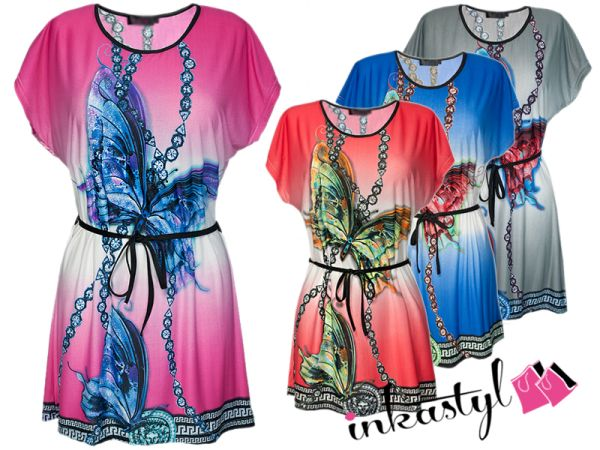 OVERSIZE TUNIC PRINT BUTTERFLY + BELT, MIX
