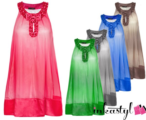 Airy TUNIC, DRESS<br>charming bow, MIX